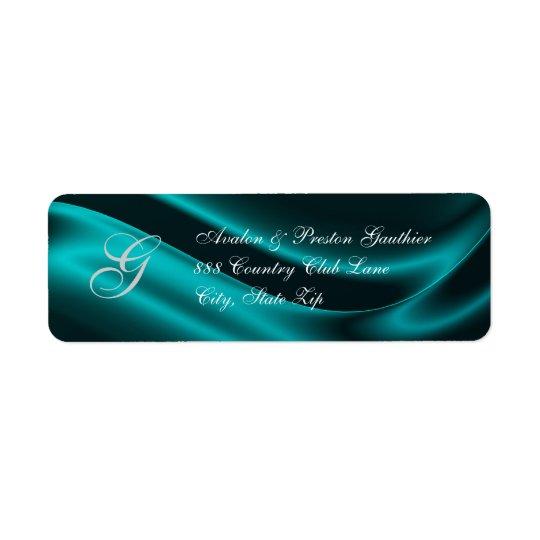 Elegant Holiday Teal Silk Christmas Address Label