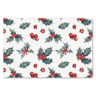 Elegant Holly Berry Holiday Christmas Rustic Tissue Paper