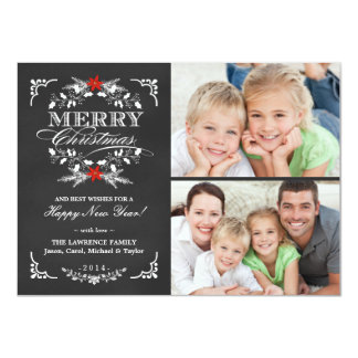 Elegant Holly Chalkboard Christmas 2-Photo Cards 11 Cm X 16 Cm Invitation Card