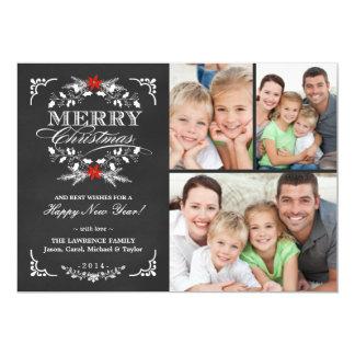 Elegant Holly Chalkboard Christmas 3-Photo Collage 13 Cm X 18 Cm Invitation Card