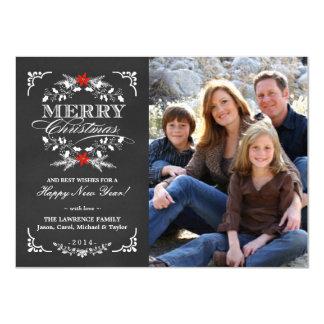 Elegant Holly Chalkboard Christmas Photo Flat Card 11 Cm X 16 Cm Invitation Card
