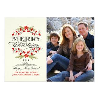 Elegant Holly Christmas Typography Flat Photo Card 11 Cm X 16 Cm Invitation Card