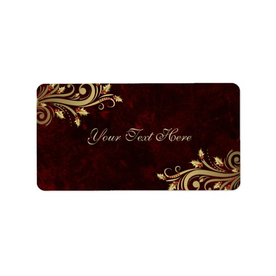 Elegant Holly Flourish Red Christmas Address Label