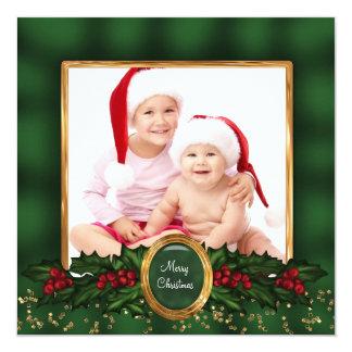 Elegant Holly Green Gold Photo Christmas Cards 13 Cm X 13 Cm Square Invitation Card