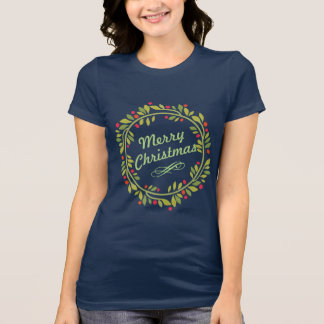 Elegant Holly Merry Christmas Wreath T-Shirt