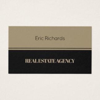 Elegant horizontal split tan black business card