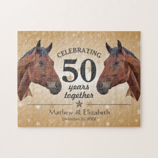 Elegant Horse Custom Gold 50th Wedding Anniversary Jigsaw Puzzle