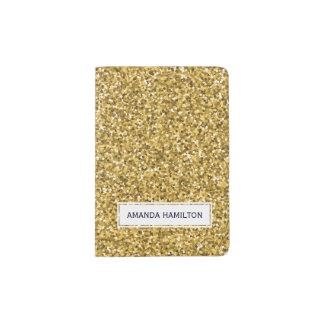 Elegant hot GOLD glitter sparkling add your name Passport Holder