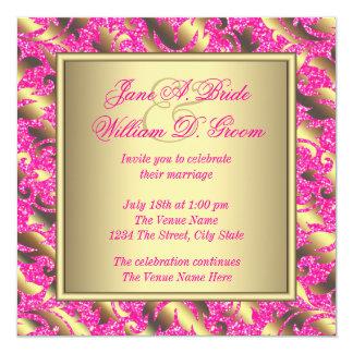 "Elegant Hot Pink and Gold Wedding 5.25"" Square Invitation Card"