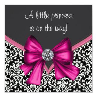 Elegant Hot Pink Black Damask Princess Baby Shower 13 Cm X 13 Cm Square Invitation Card