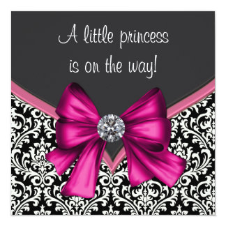 Elegant Hot Pink Black Damask Princess Baby Shower Card