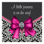 Elegant Hot Pink Black Damask Princess Baby Shower Personalised Announcements