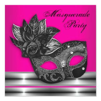 Elegant Hot Pink Black Masquerade Party Invitation