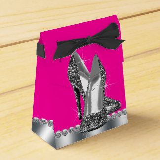 Elegant Hot Pink Glitter High Heel Shoe Favour Box
