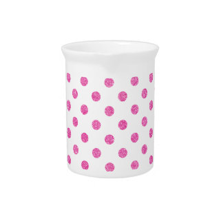 Elegant Hot Pink Glitter Polka Dots Pattern Beverage Pitchers
