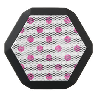 Elegant Hot Pink Glitter Polka Dots Pattern Black Bluetooth Speaker