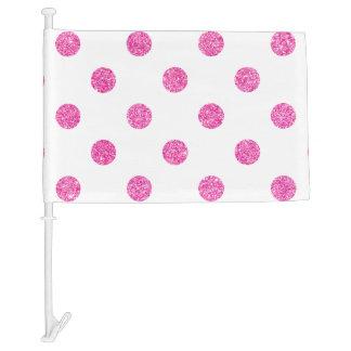 Elegant Hot Pink Glitter Polka Dots Pattern Car Flag