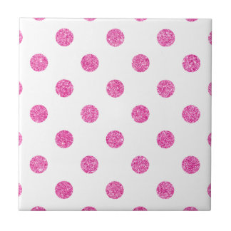 Elegant Hot Pink Glitter Polka Dots Pattern Ceramic Tile