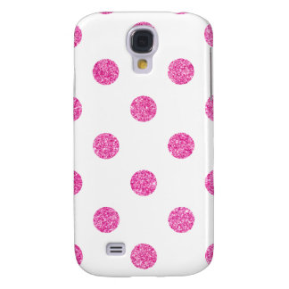 Elegant Hot Pink Glitter Polka Dots Pattern Galaxy S4 Case