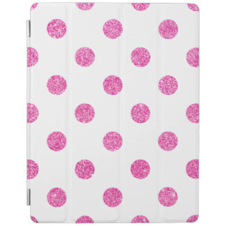 Elegant Hot Pink Glitter Polka Dots Pattern iPad Cover