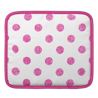 Elegant Hot Pink Glitter Polka Dots Pattern iPad Sleeve