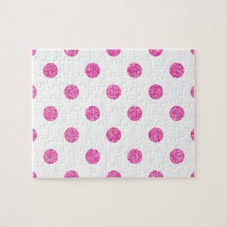 Elegant Hot Pink Glitter Polka Dots Pattern Jigsaw Puzzle