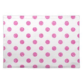 Elegant Hot Pink Glitter Polka Dots Pattern Placemat
