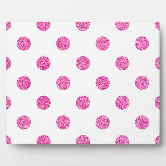 Elegant Hot Pink Glitter Polka Dots Pattern Plaque