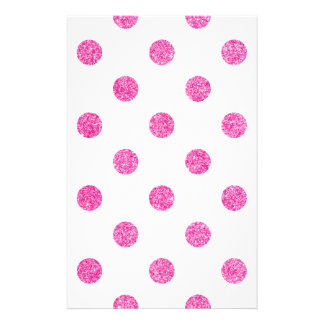 Elegant Hot Pink Glitter Polka Dots Pattern Stationery