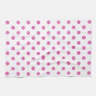 Elegant Hot Pink Glitter Polka Dots Pattern Tea Towel