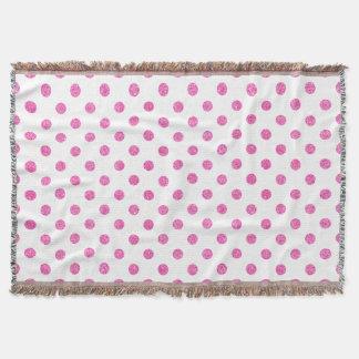 Elegant Hot Pink Glitter Polka Dots Pattern Throw Blanket