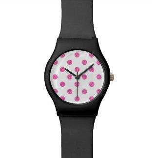 Elegant Hot Pink Glitter Polka Dots Pattern Watch