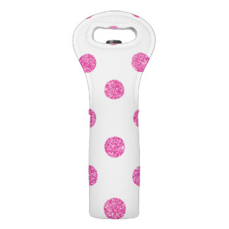 Elegant Hot Pink Glitter Polka Dots Pattern Wine Bag