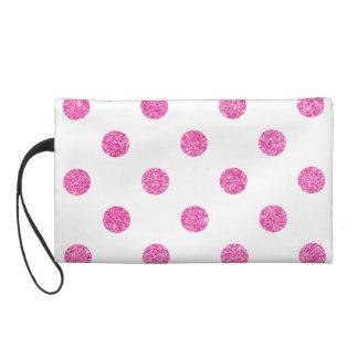 Elegant Hot Pink Glitter Polka Dots Pattern Wristlet