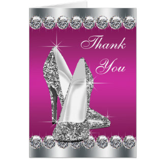 Elegant Hot Pink High Heel Shoe Thank You Cards