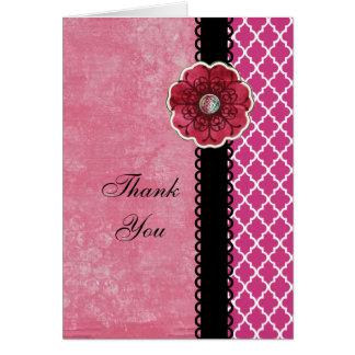 Elegant Hot Pink Quatrefoil Black Flower Thank You Card