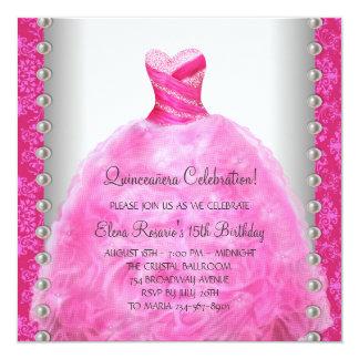 """Elegant Hot Pink Quinceanera Invitation 5.25"""" Square Invitation Card"""