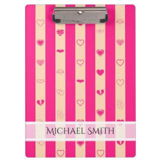 Elegant Hot Pink Stripes Modern Heart Pattern Clipboard