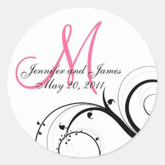Elegant Hot Pink Swirl Monogram Wedding Seal Round Sticker