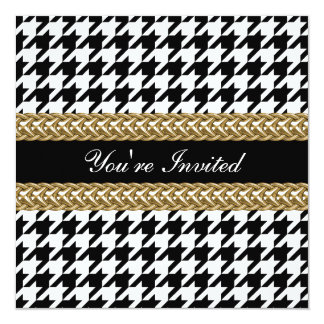 Elegant Houndstooth Black White Gold Party Invite