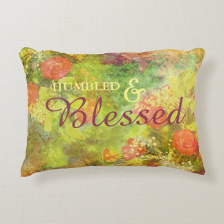 Elegant Humbled & Blessed Floral Watercolor Decorative Cushion