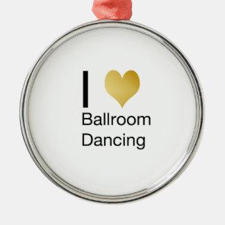 Elegant I Heart Ballroom Dancing Metal Ornament