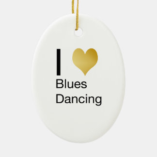 Elegant I Heart Blues Dancing Ceramic Ornament