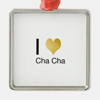 Elegant I Heart Cha Cha Metal Ornament