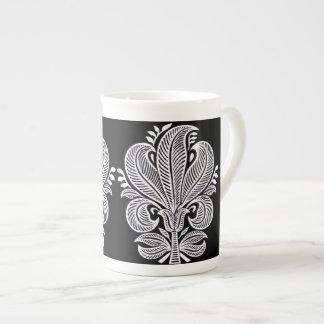 Elegant Indian Pattern Floral Design Black White Bone China Mug
