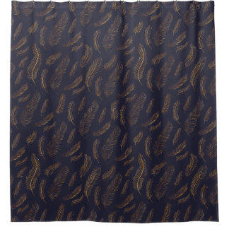 Elegant Indigo and Gold Feather Shower Curtain