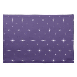Elegant Indigo Violet And Bright Stars Pattern Placemat