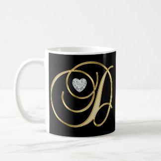 Elegant Initial Monogrammed Letter D Gold Black Coffee Mug