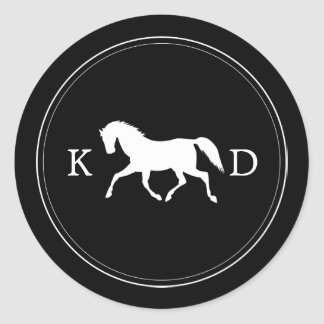 Elegant Initials Horse Wedding Favor Classic Round Sticker