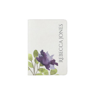 ELEGANT INK BLUE WATERCOLOUR FLORAL Personalised Passport Holder